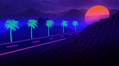 80s Synthwave And Retrowave Background