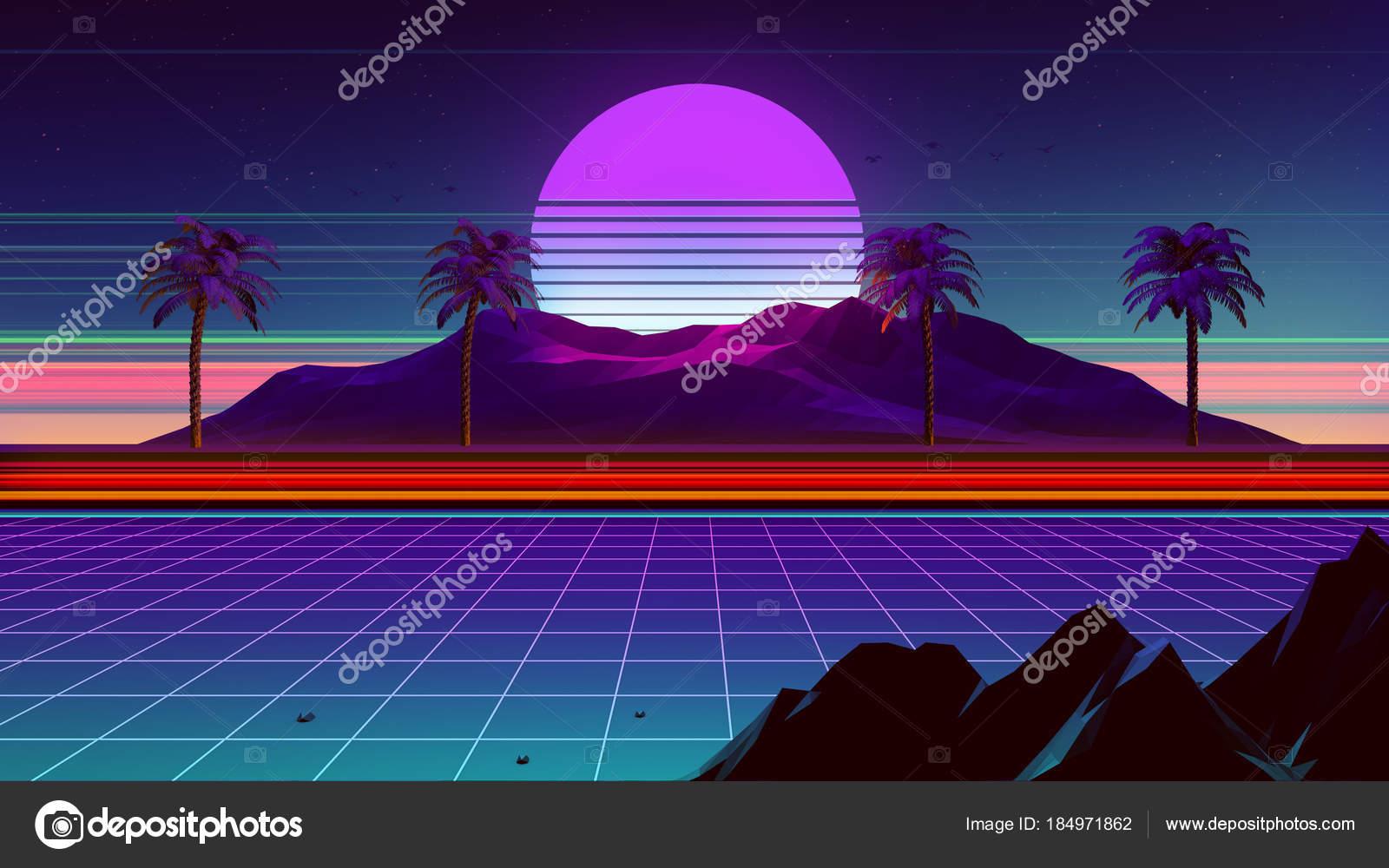 80S Synthwave Retrowave Background — Stock Photo © dennybusyet