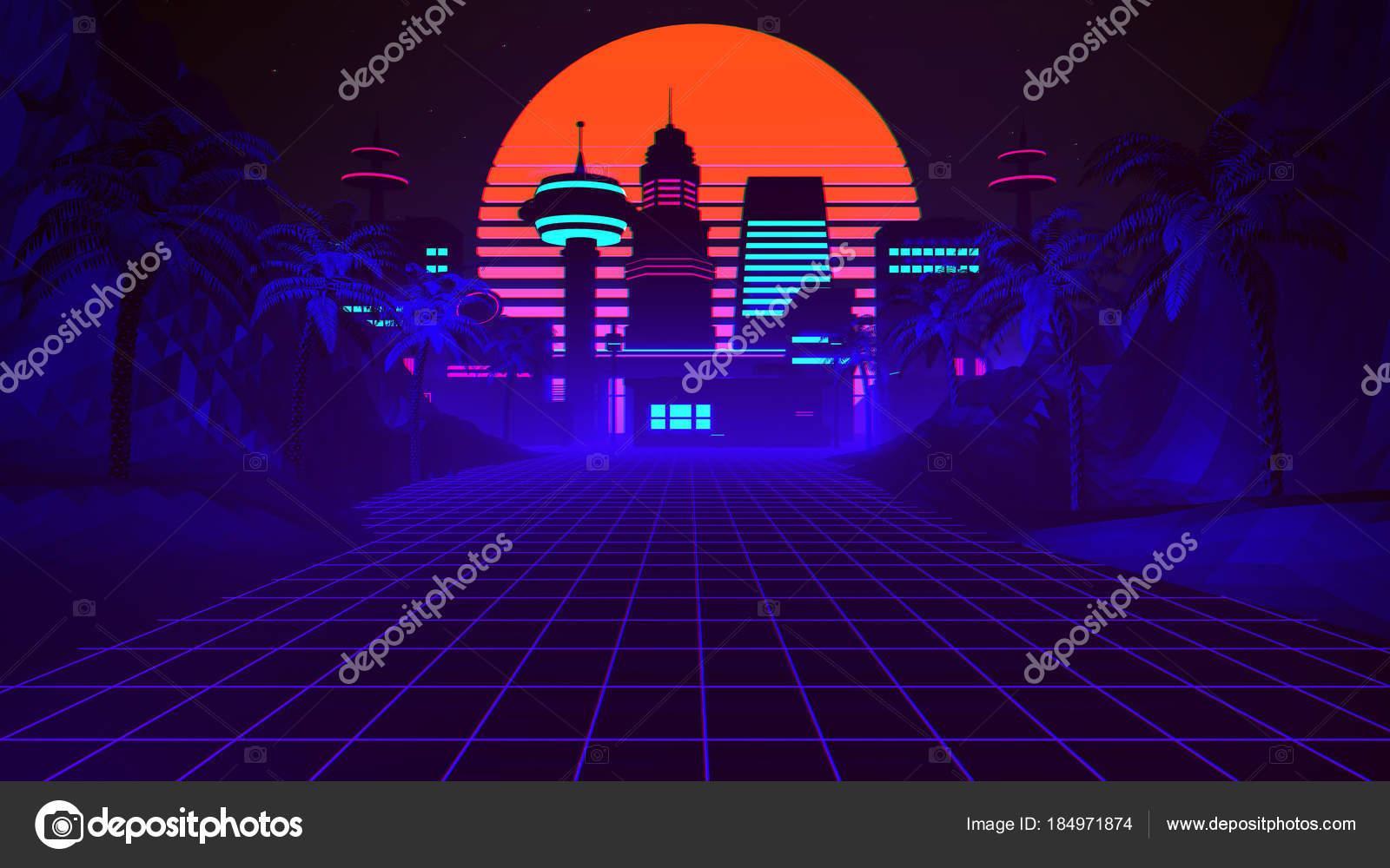 Background 80s City 80s Retro Futuristic City Background