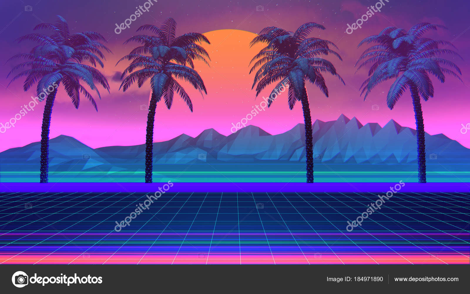 80S Synthwave Retrowave Background Palm Trees — Stock Photo