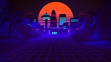 80s Retro Futuristic City Background
