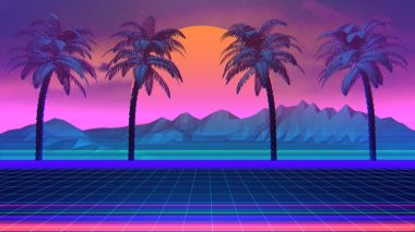 80s Synthwave And Retrowave Background With Palm Trees