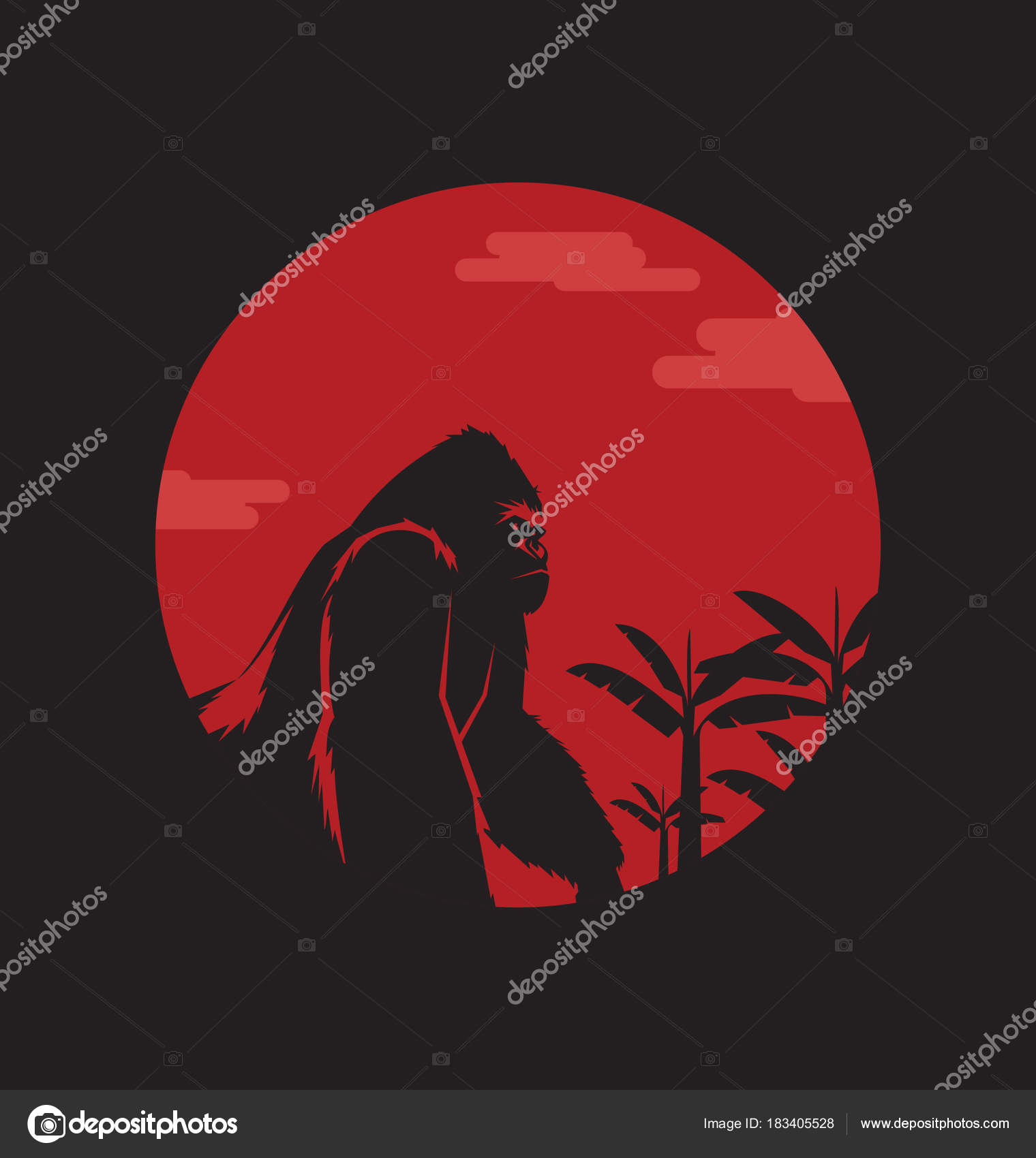 Gorila Kingkong Bajo Luna Logotipo Ilustración Plantilla — Vector de ...