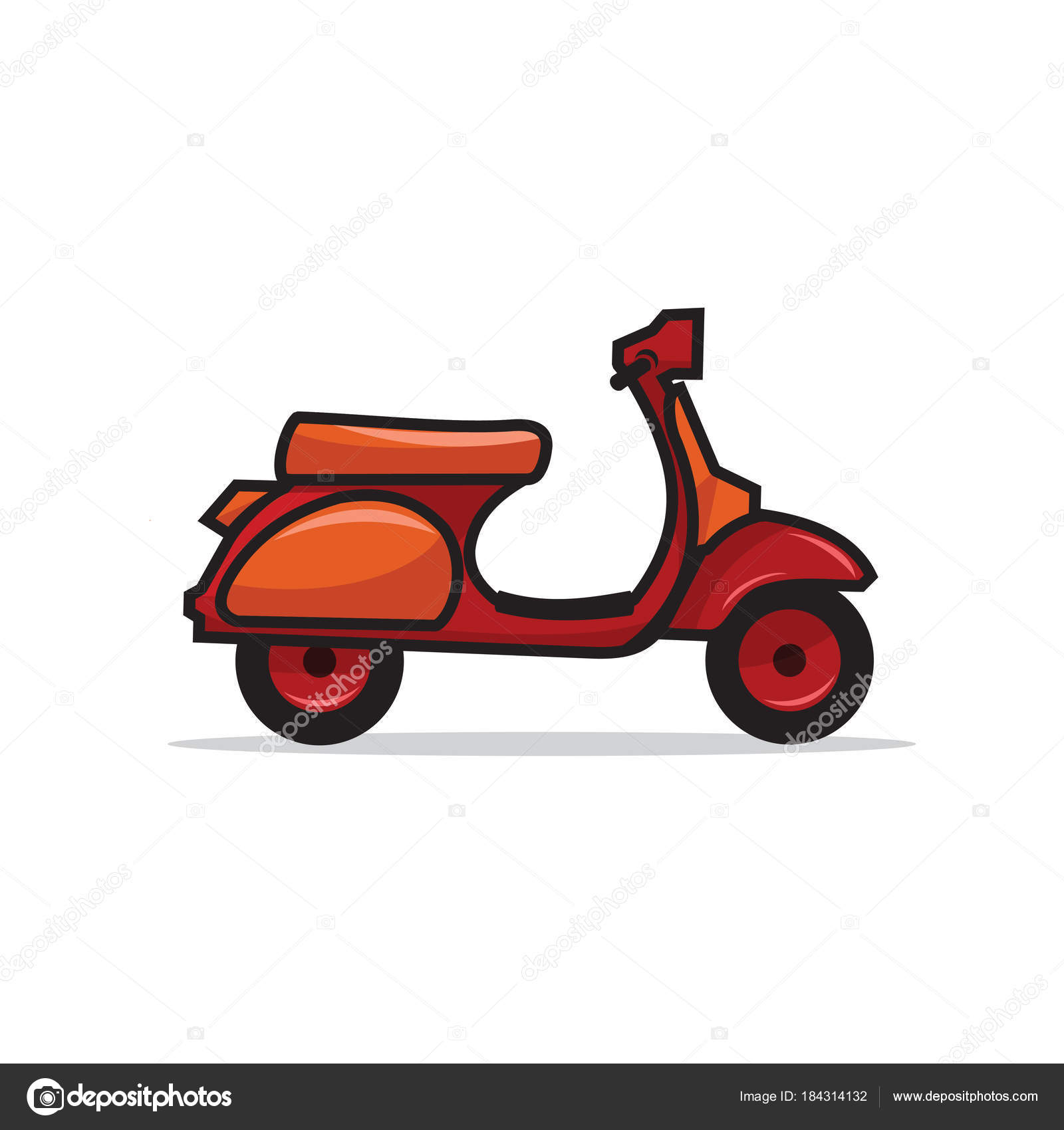 red classic scooter illustration logo template stock vector