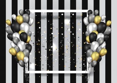 Golden black and silver balloons with white frame on shiny stria