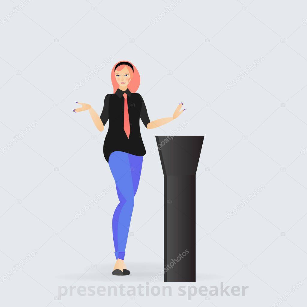 Cartoon Beautiful Smiling Woman Speaker Giving Speech From Tribune Business Lady Vector Illustration Leadership Trait Professional Presenting Character Feminism Premium Vector In Adobe Illustrator Ai Ai Format Encapsulated Postscript