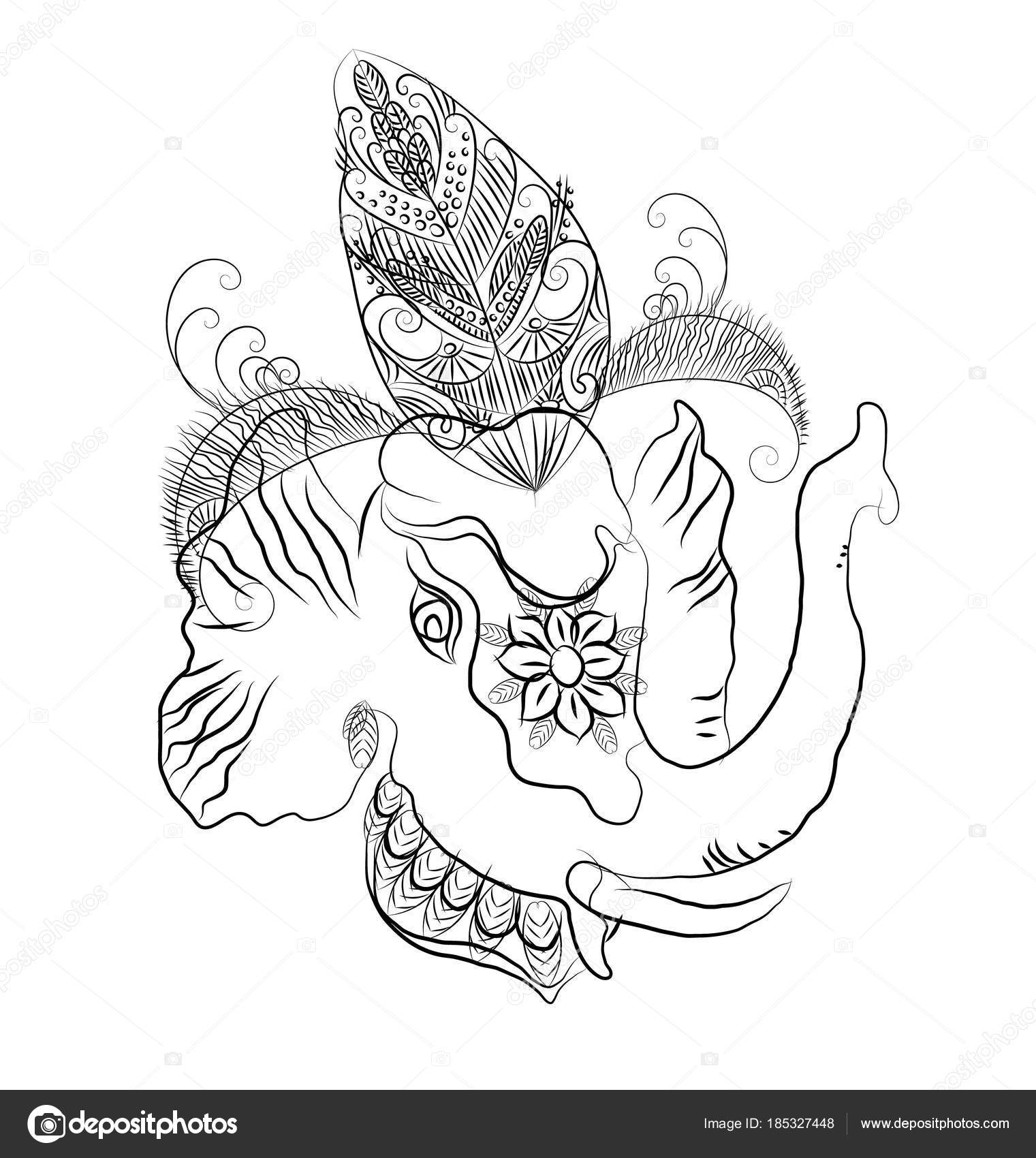 Indian Elephant Coloring Line Drawing Vector Illustartion Eps10 ...