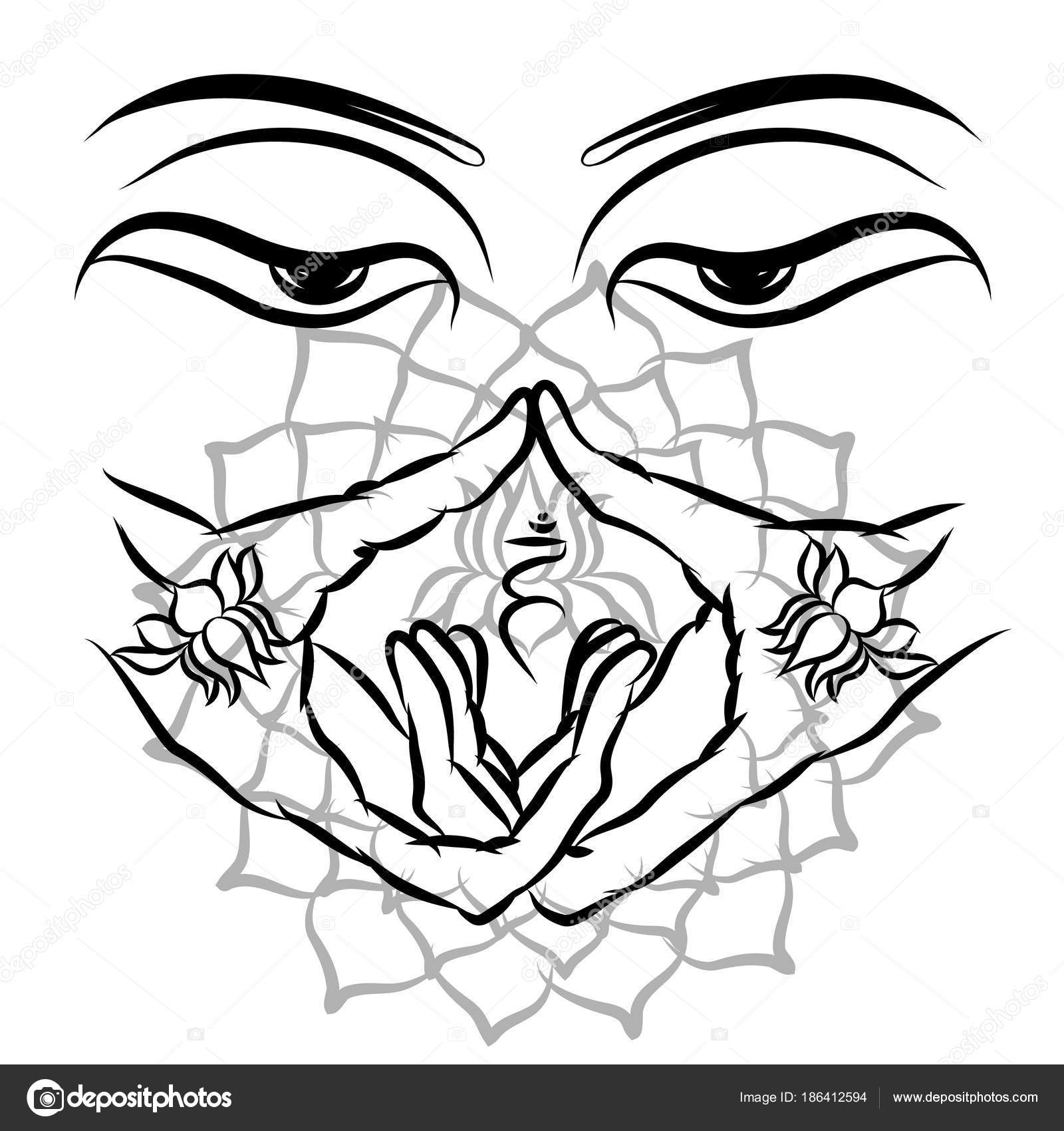 Buddha Purnima Background Tattoo Printing Fabric Vector Illustration