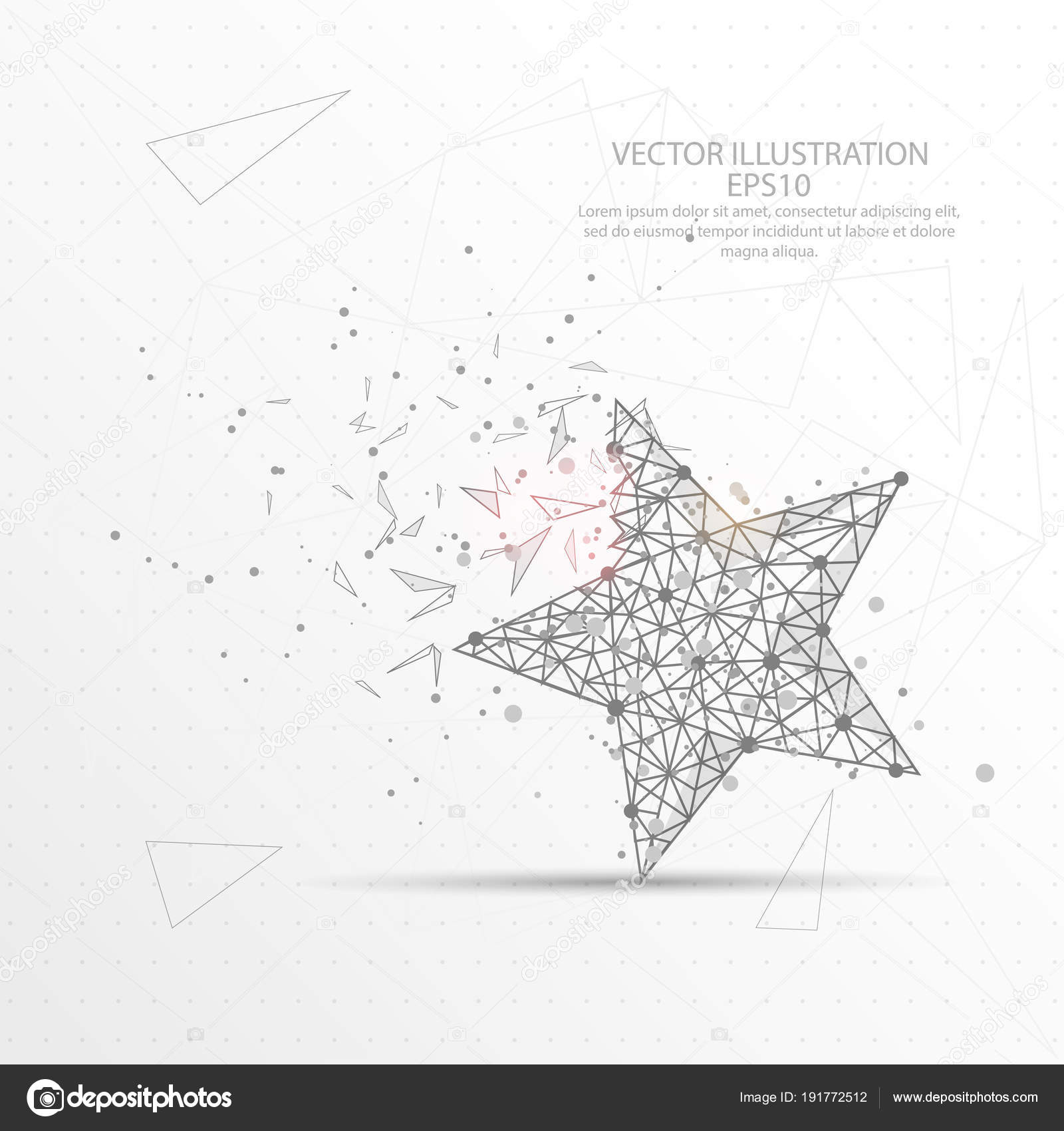 Star digitally drawn low poly triangle wire frame. — Stock Vector ...