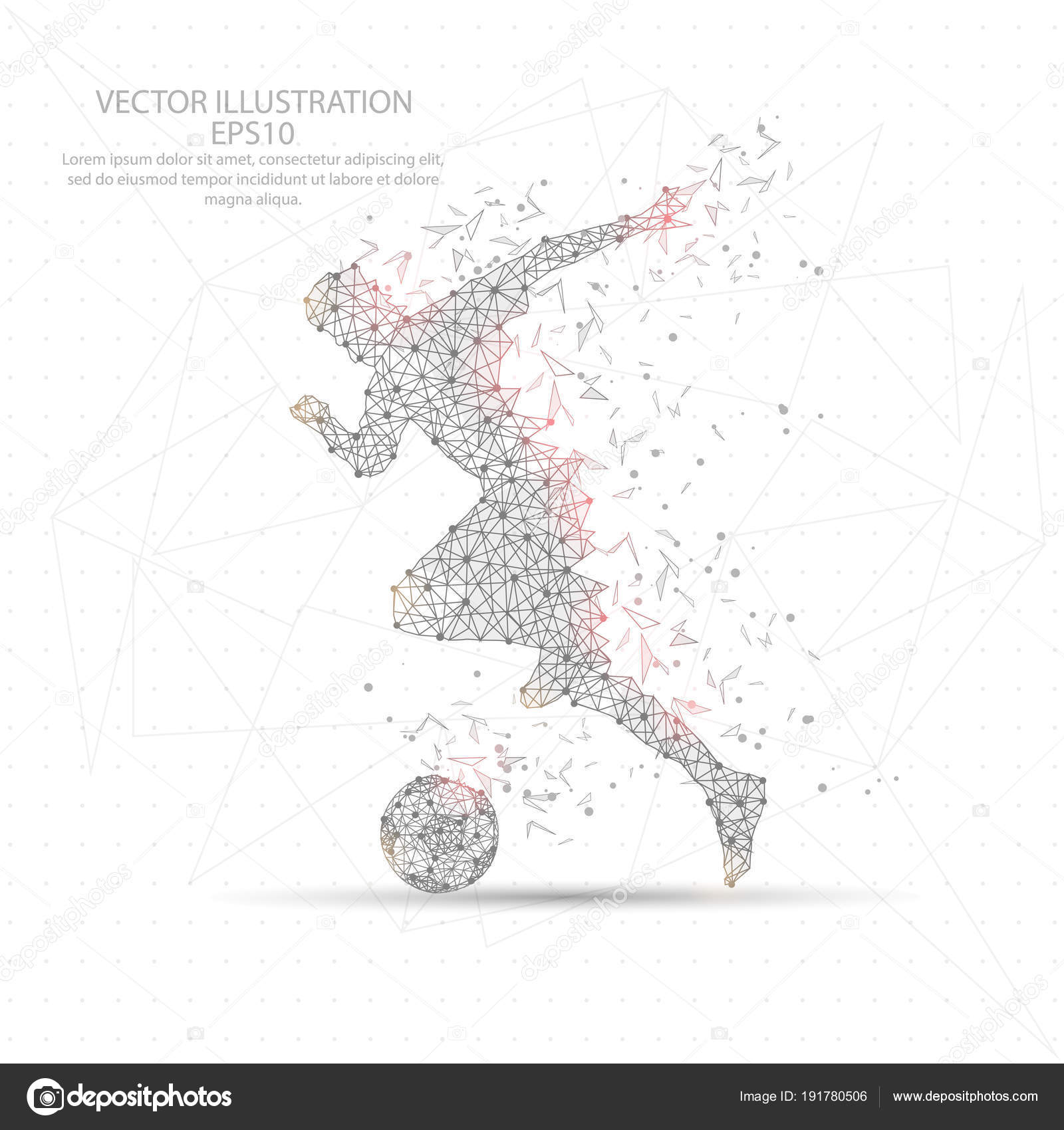 Futbolista futbol dibujado digitalmente marco de alambre de baja ...