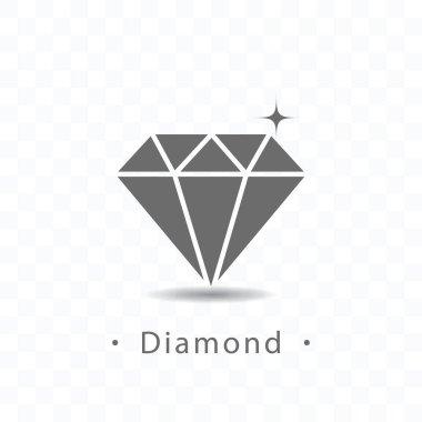 Diamond icon vector illustration on transparent background.