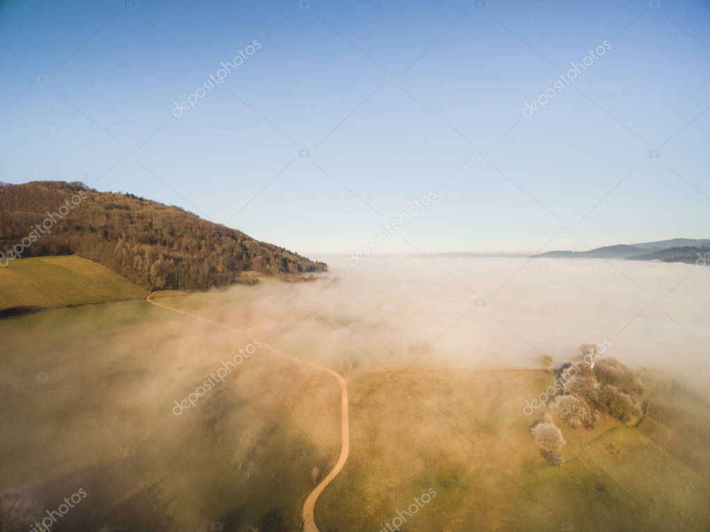 aerial view of beautiful green trees and hills in fog, Germany