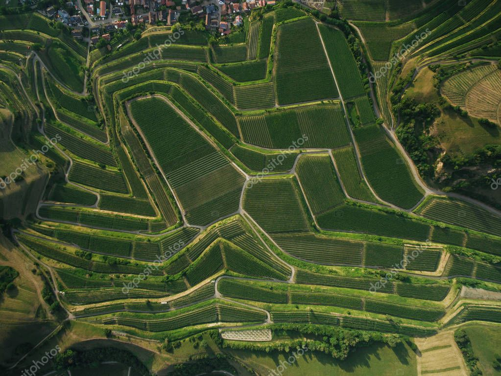 full frame shot of agricultural fields from bird eye view, europe