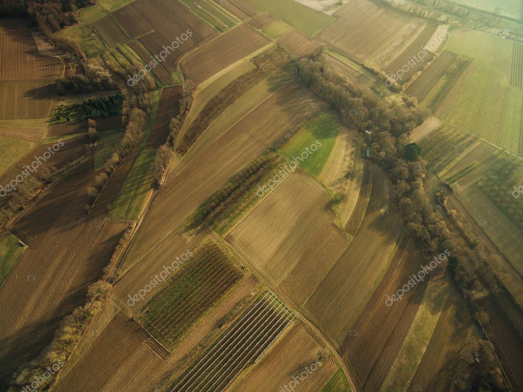 aerial view of beautiful agricultural fields on summer sunset, europe