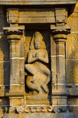 Carved dancing idols on the Gopuram of Nataraja Temple, Chidambaram, Tamil Nadu, India.