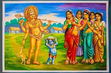 Colorful paintings on the ceiling of Nataraja Temple, Chidambaram, Tamil Nadu, India.