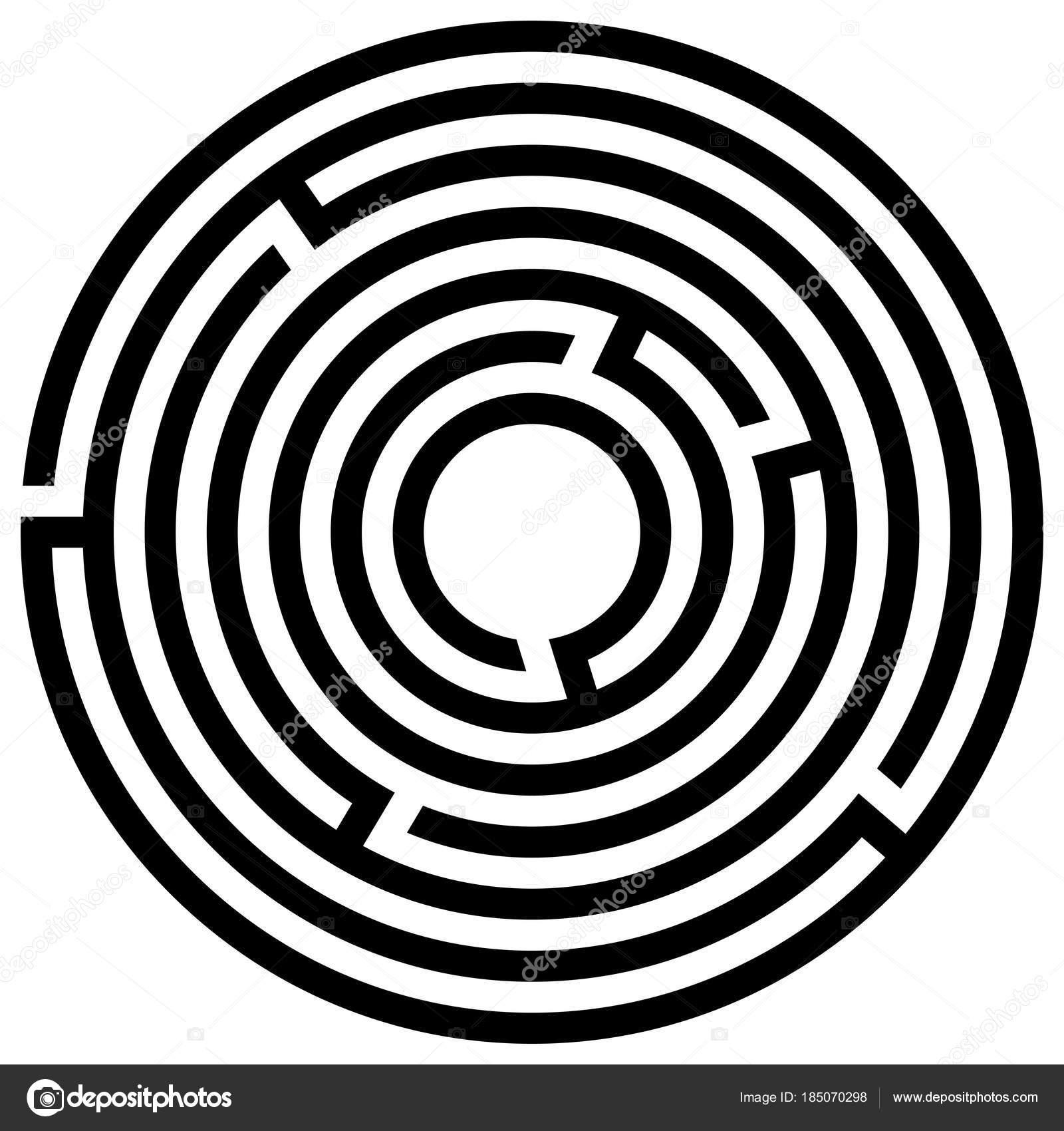 Laberinto Circular Facil Juego Laberinto Con Entrada Salida Vector