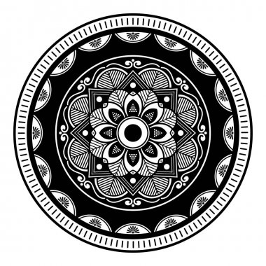 Mandala decorative round ornament. Can be used for greeting card, phone case print, etc. Hand drawn background
