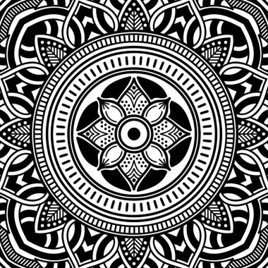 Abstract graphic square background with mandala geometric pattern. Vector illustration