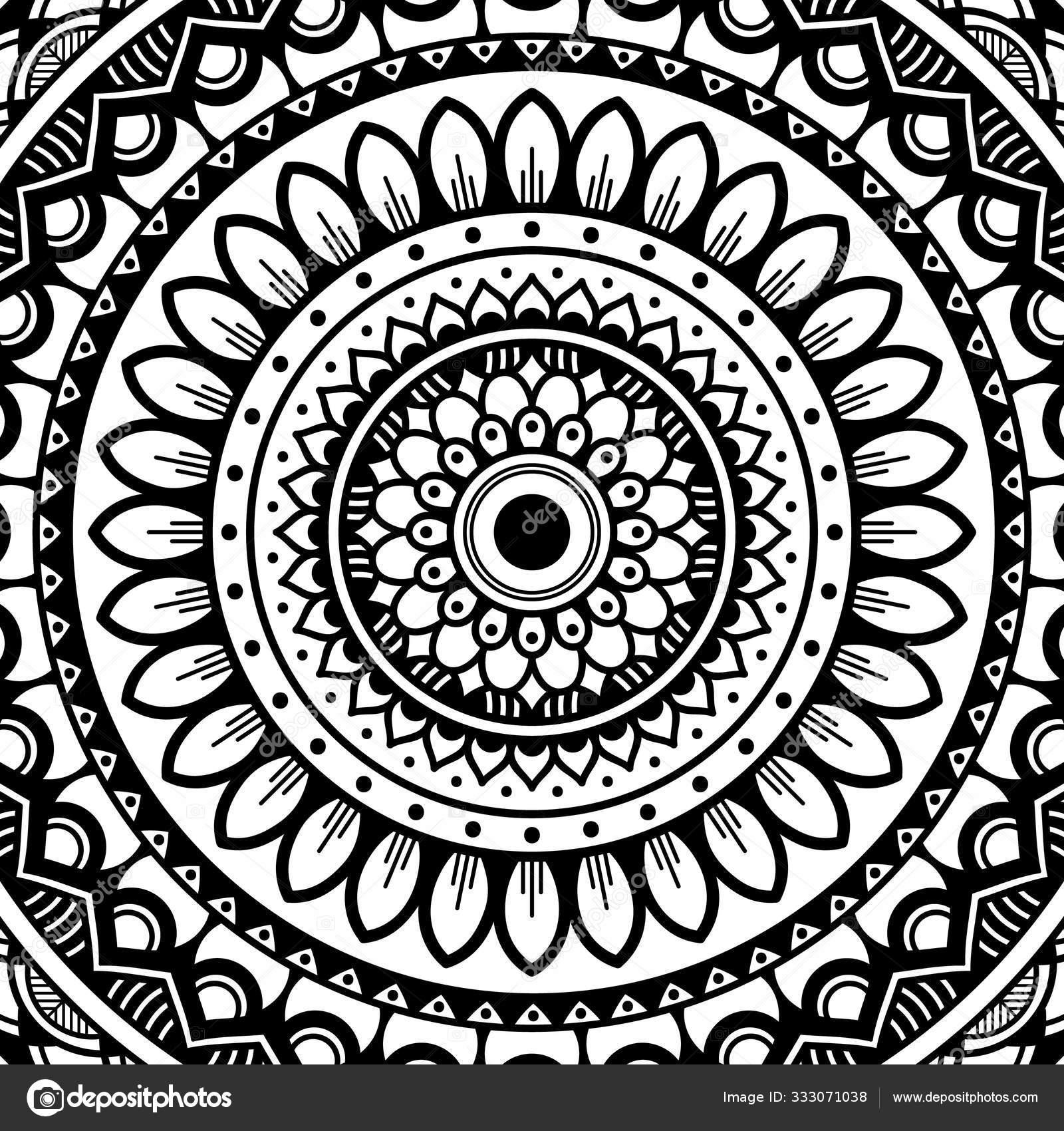 Mandala Pattern Black White Decorative Ornament Stress Therapy Patterns Vector Image By C Urban 4k Web Gmail Com Stock 333071038