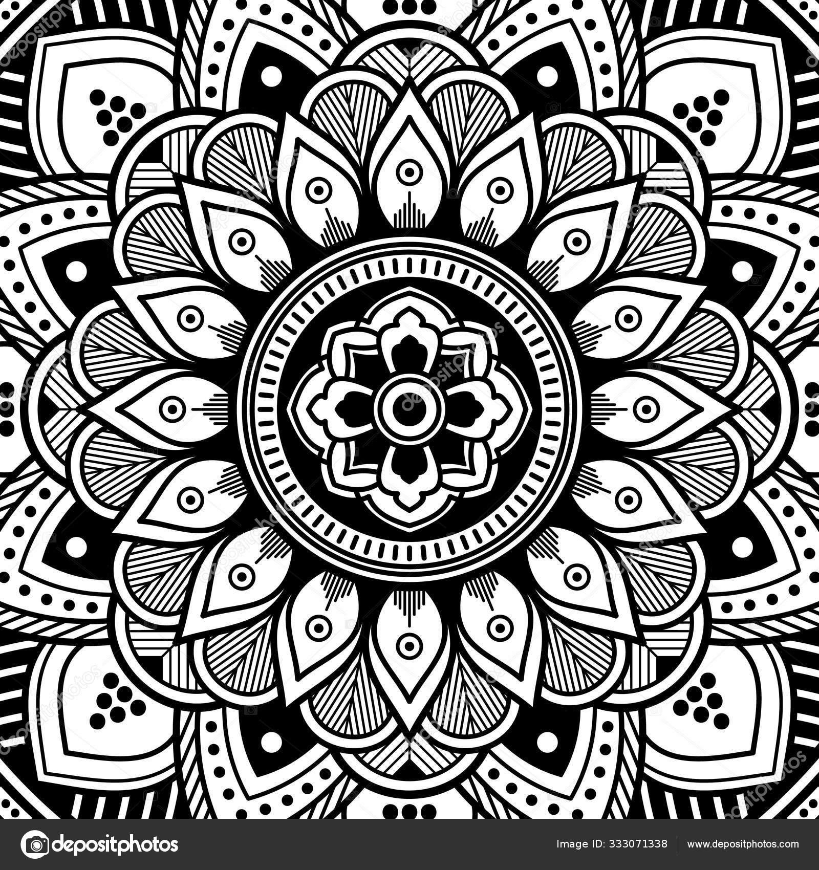 Mandala Pattern Black White Decorative Ornament Stress Therapy Patterns Vector Image By C Urban 4k Web Gmail Com Stock 333071338