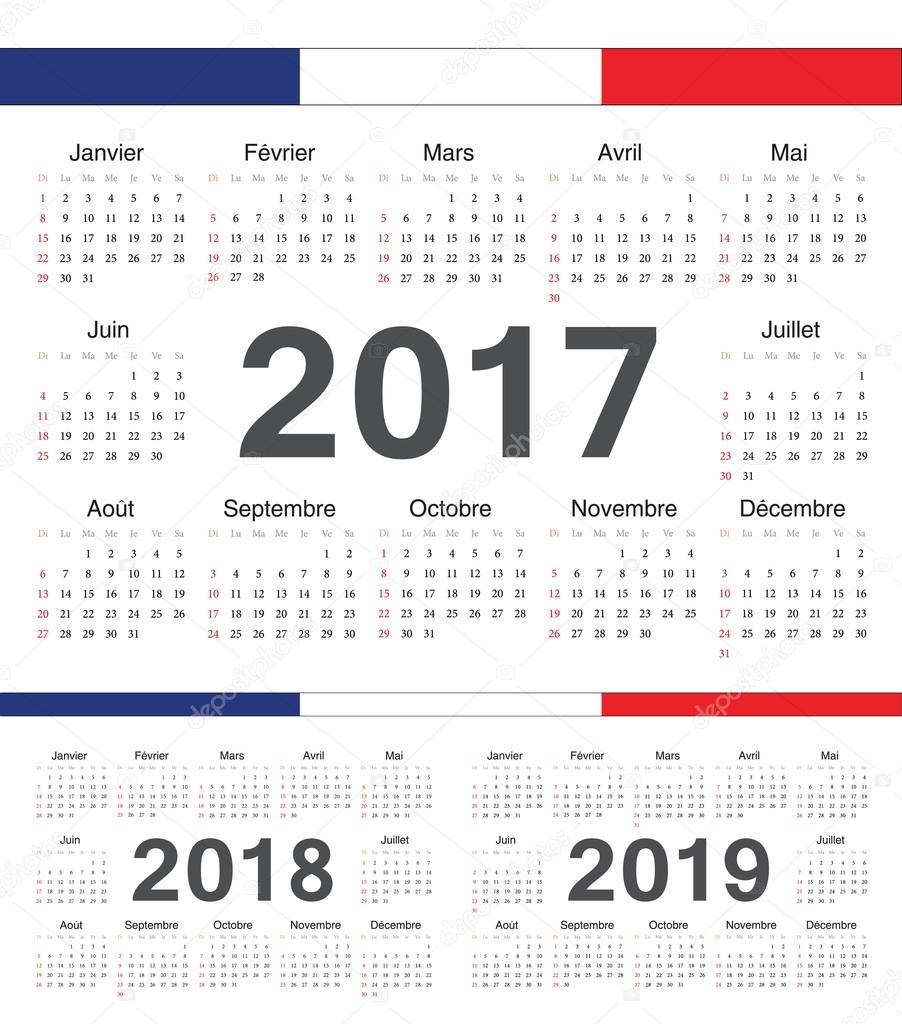 vector french black circle calendars 2017 2018 2019 stock vector