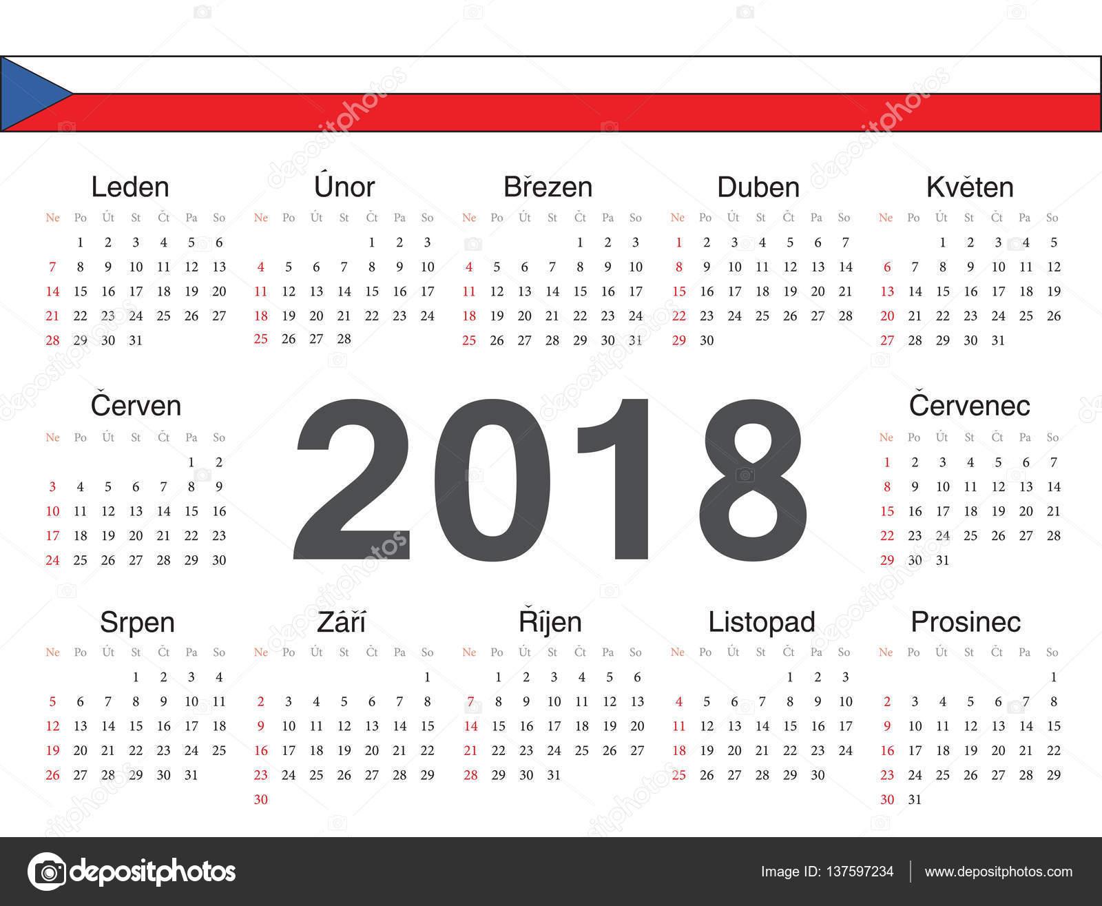 kalendar cesky Vector Czech circle calendar 2018 — Stock Vector © julvil11 #137597234 kalendar cesky