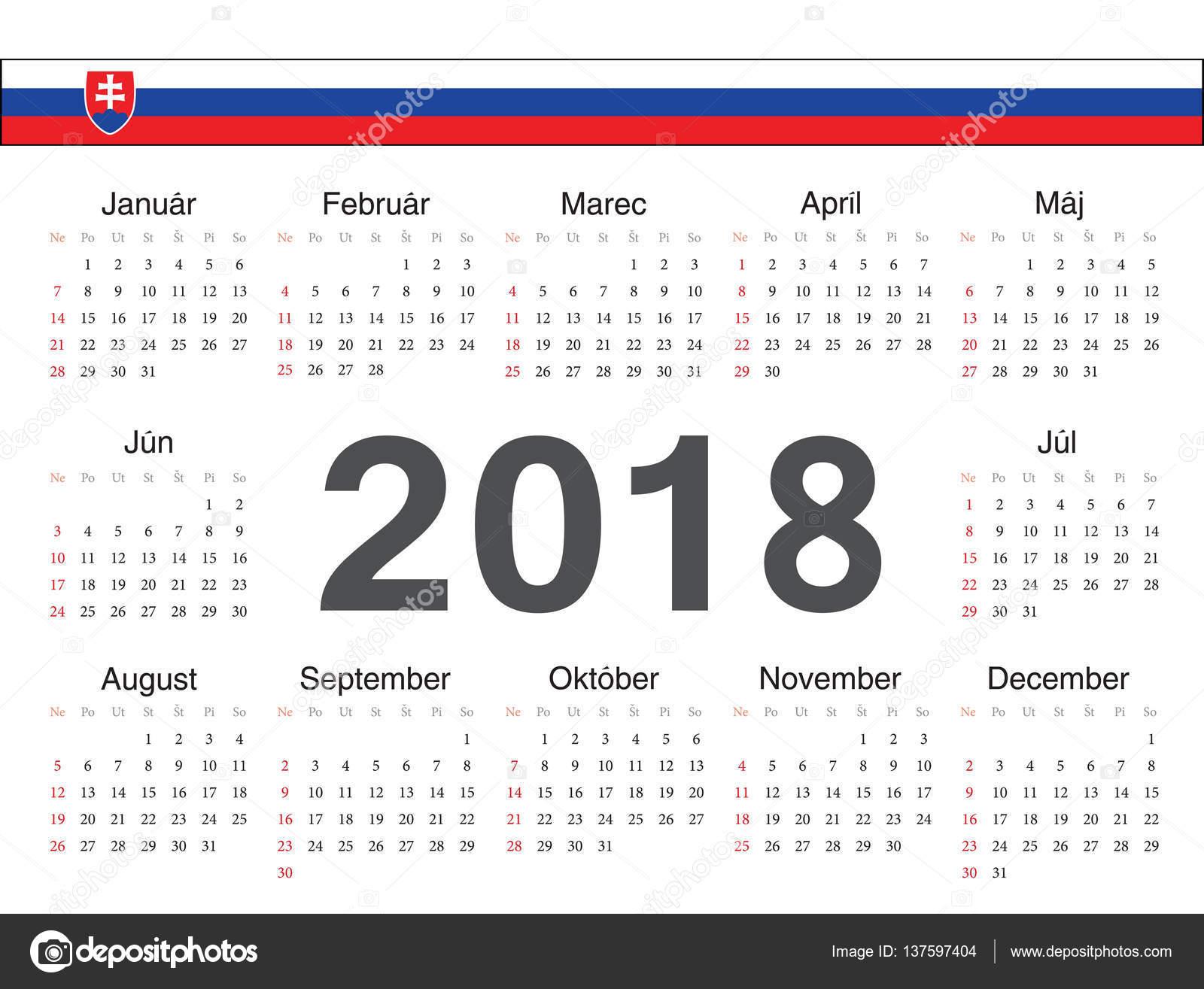 slovensky kalendar Vektor slovenský okruh kalendář 2018 — Stock Vektor © julvil11  slovensky kalendar