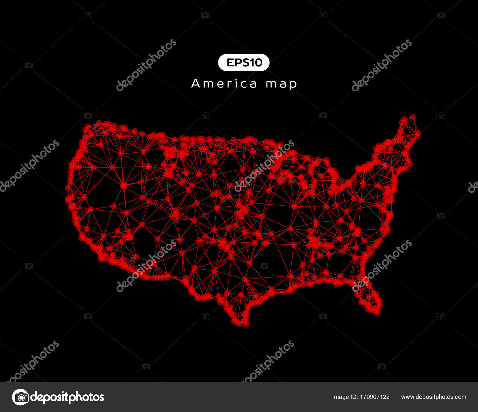 Vector Abstract Illustration Usa Map Eps — Stock Vector ...