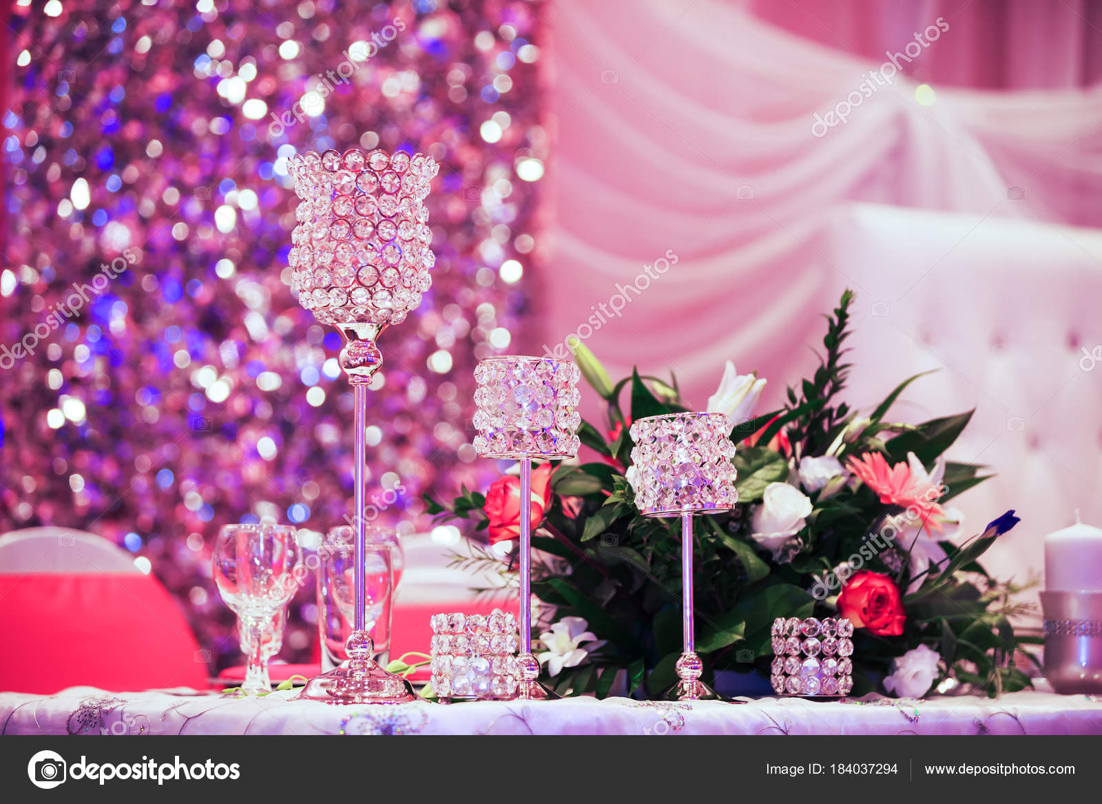 Beautiful glasses on banquet table. Decoration glasses for the ...