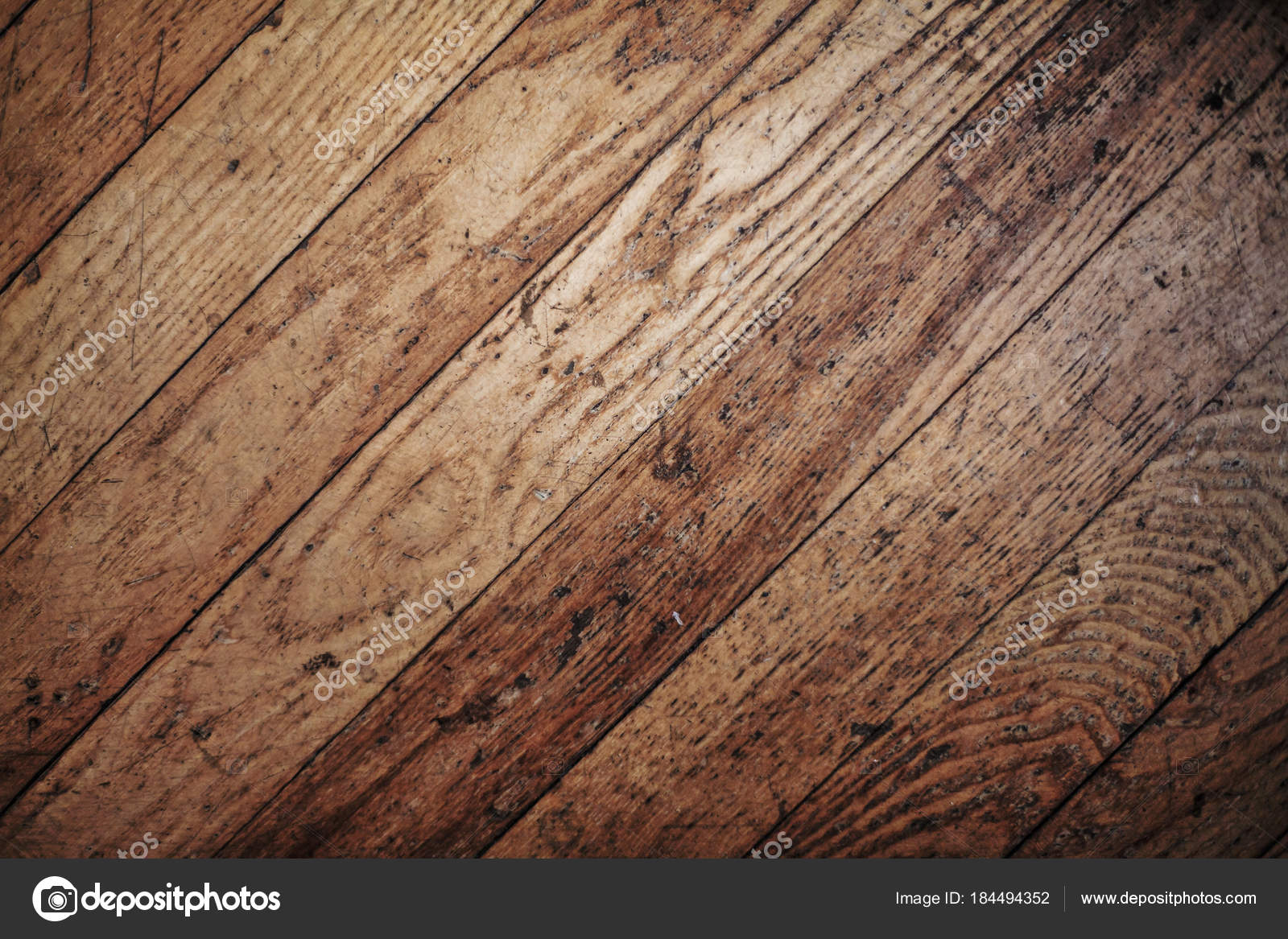 Old Used Scratched Natural Wooden Parquet Floor Texture Top