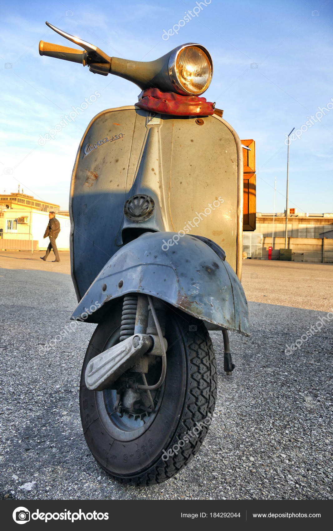 Italian Iconic Vintage Vespa Scooter Parked Close Turin Italy