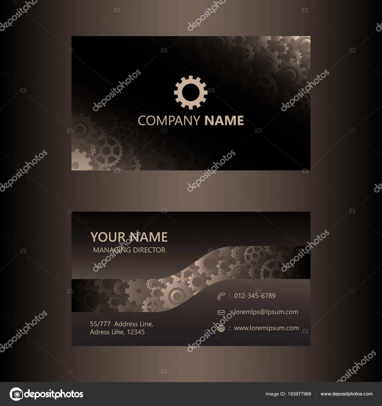 Dark brown business card template gears background engineer dark brown business card template gears background engineer mechanical concept stock vector reheart Images