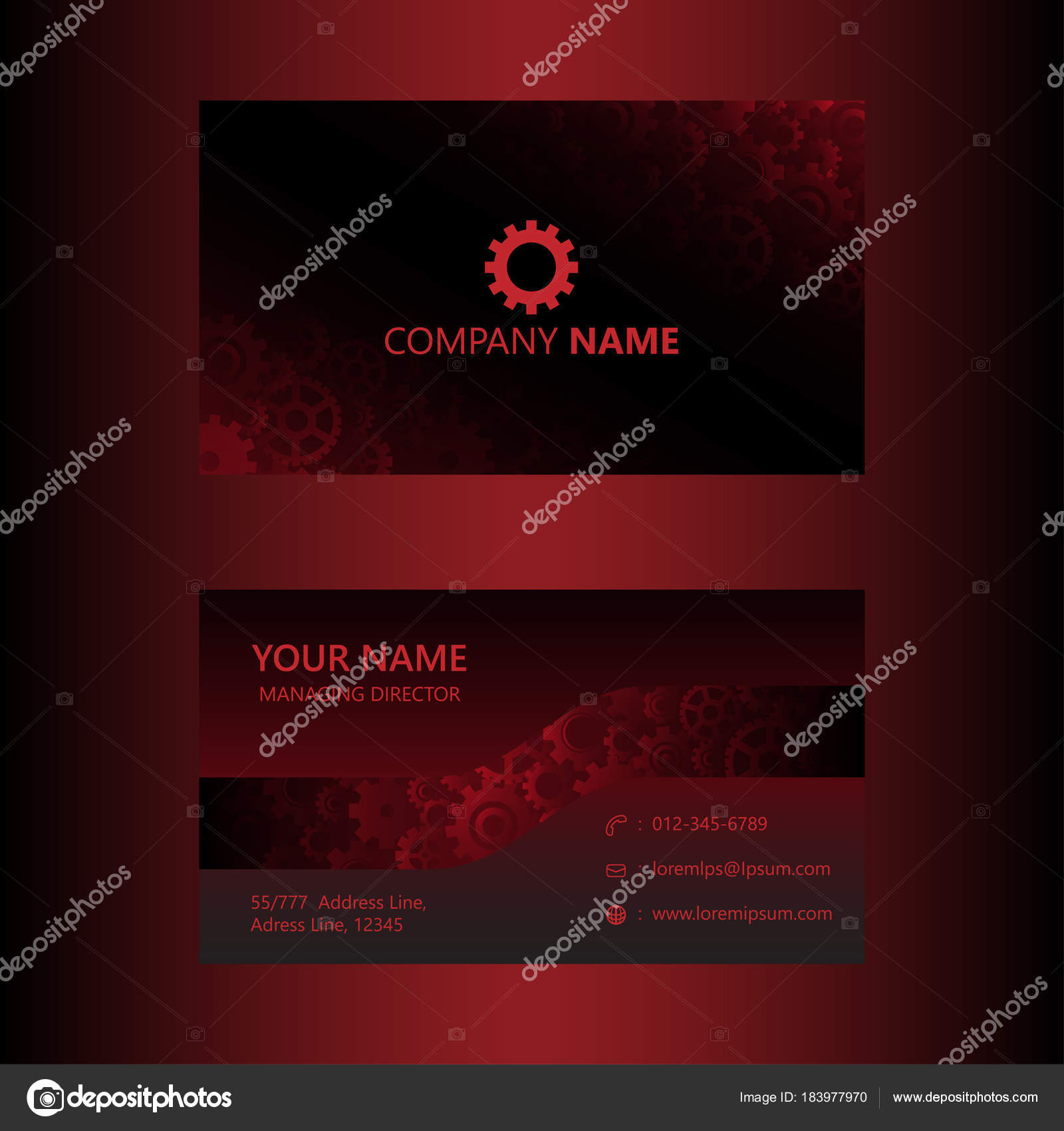 Dark red business card template gears background engineer mechanical dark red business card template gears background engineer mechanical concept stock vector accmission Gallery