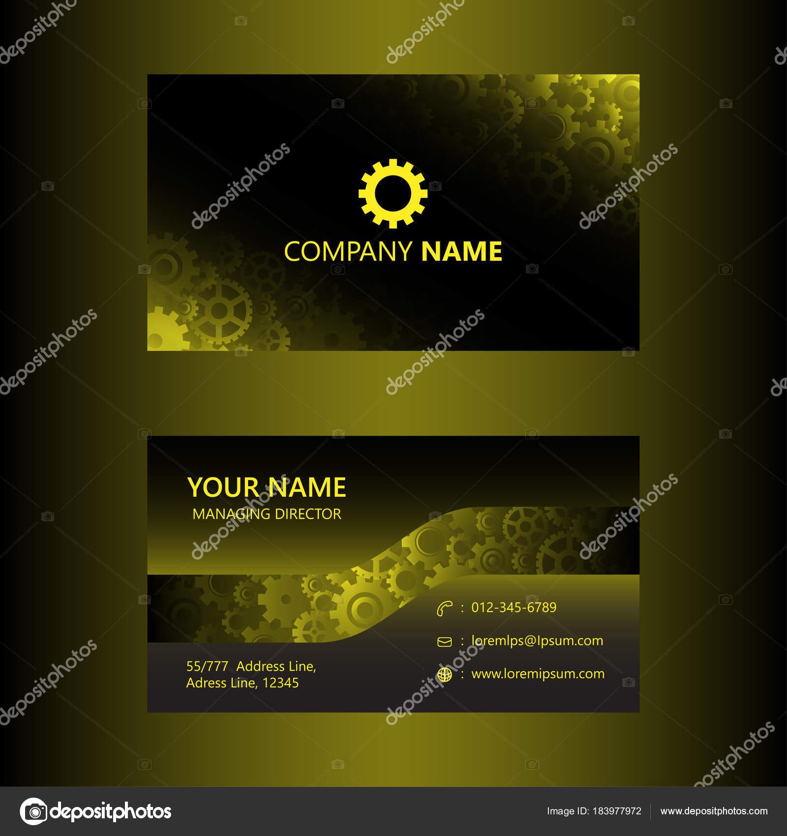 Dunkles Gelb Visitenkarte Vorlage Zahnräder Hintergrund