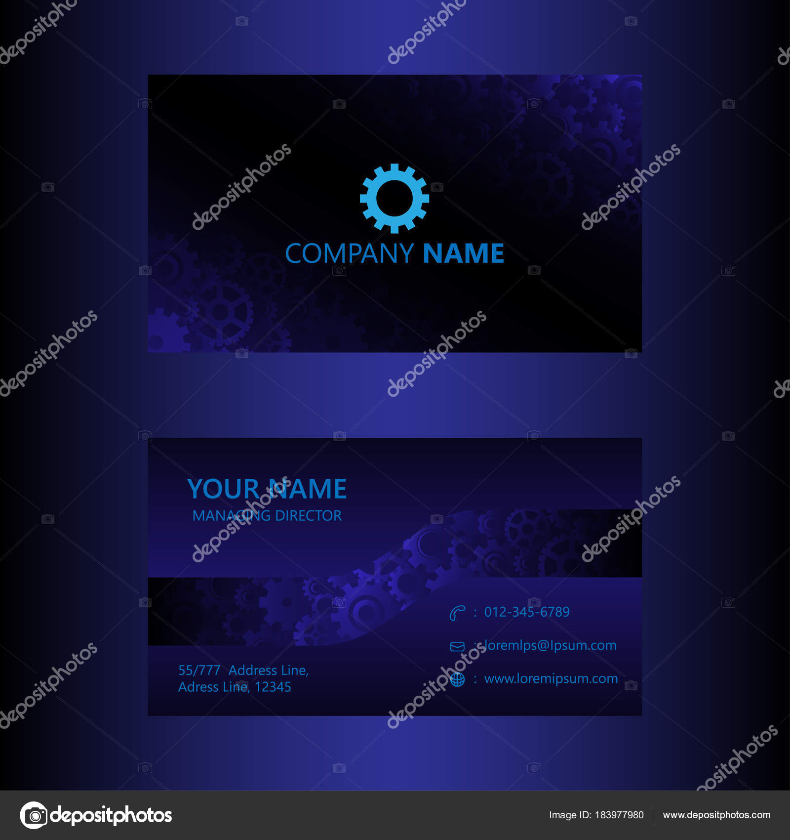 Dark blue business card gears background template engineer dark blue business card gears background template engineer and mechanical concept visiting card vector illustration vector by totostark reheart Image collections