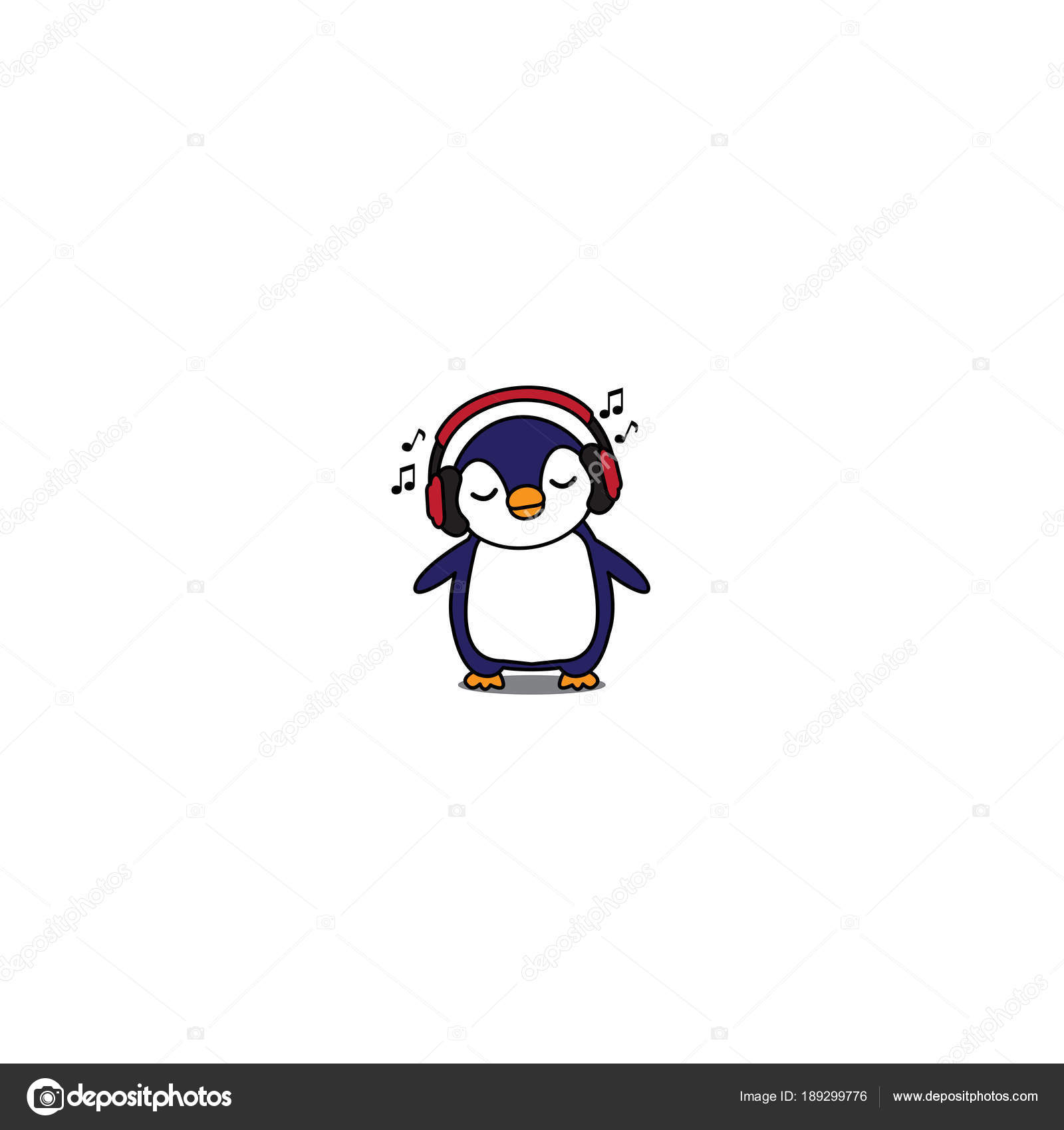 赤いヘッドフォン 赤ちゃんペンギン リスニング音楽アイコン ベクトル