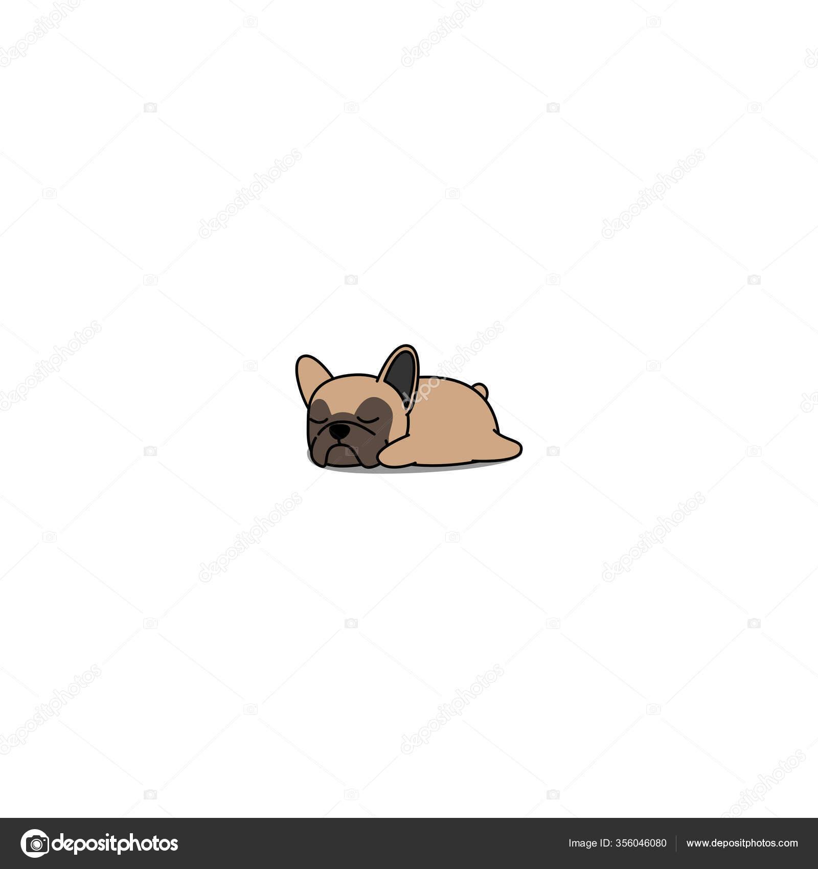 Lindo Bulldog Frances Cachorro Dormir Dibujos Animados Vector Ilustracion Vector De Stock C Totostark 356046080