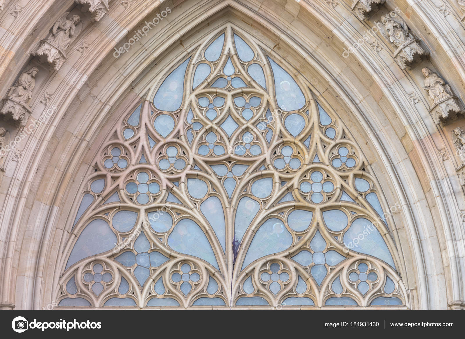 Close Up View To The Architectural Detail Of A Church Rose Window In Barcelona Cathedral Gothic Quarter Barely Perceptible Stained Glass Inside