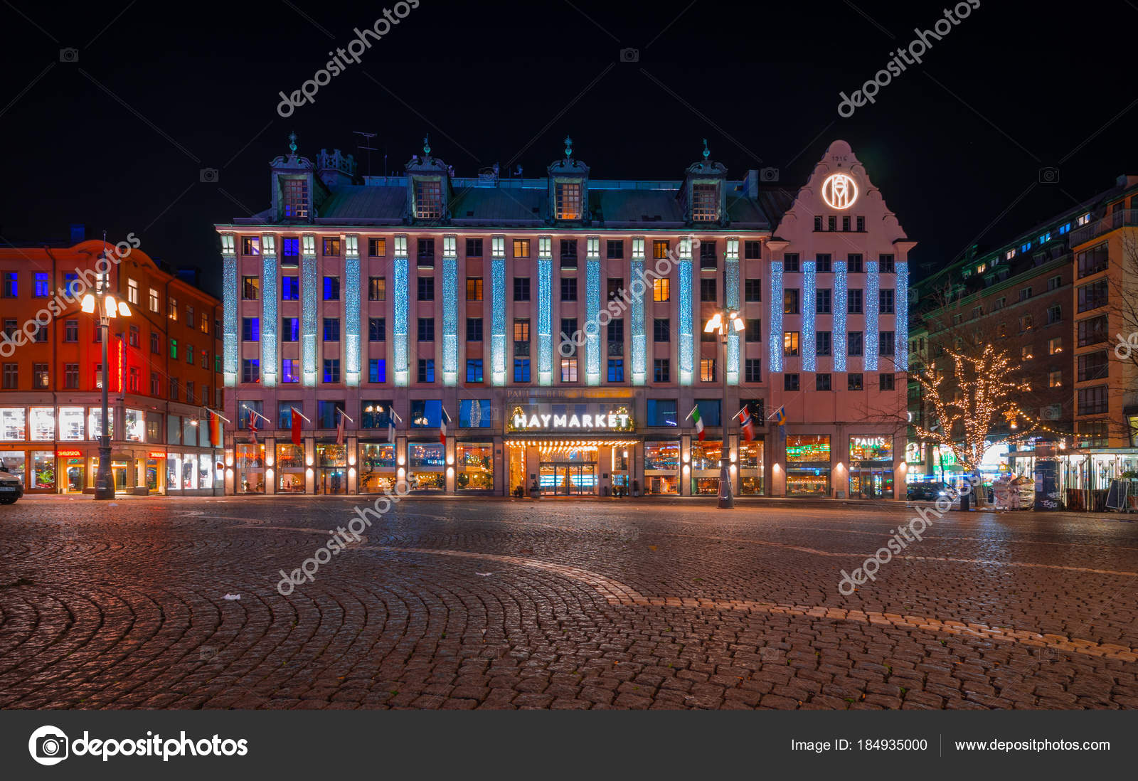 December 2017 central stockholm sweden hotorget with its outdoor hotorget with its outdoor market haymarket decorated with led lights for christmas no people evening photo by alekseykondratyevail aloadofball Image collections