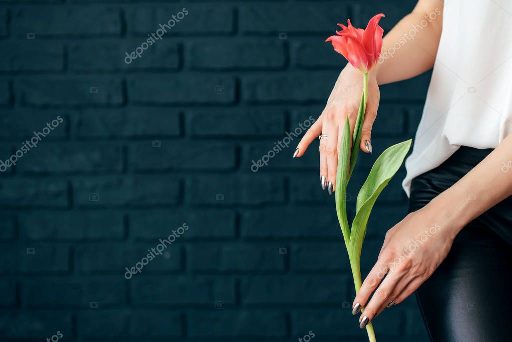 yellow and pink tulips girl holding hands on black background