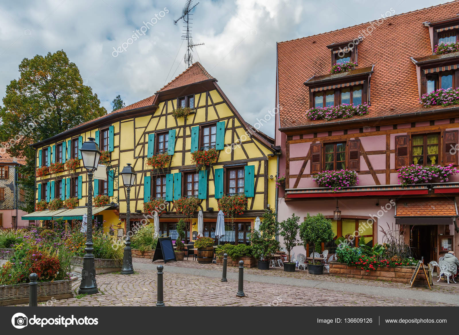 Street in ribeauville alsace france stock photo for Piscine de ribeauville