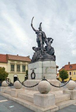 Monument of Istvan Dobo on Istvan Dobo square in Eger city center, Hungary