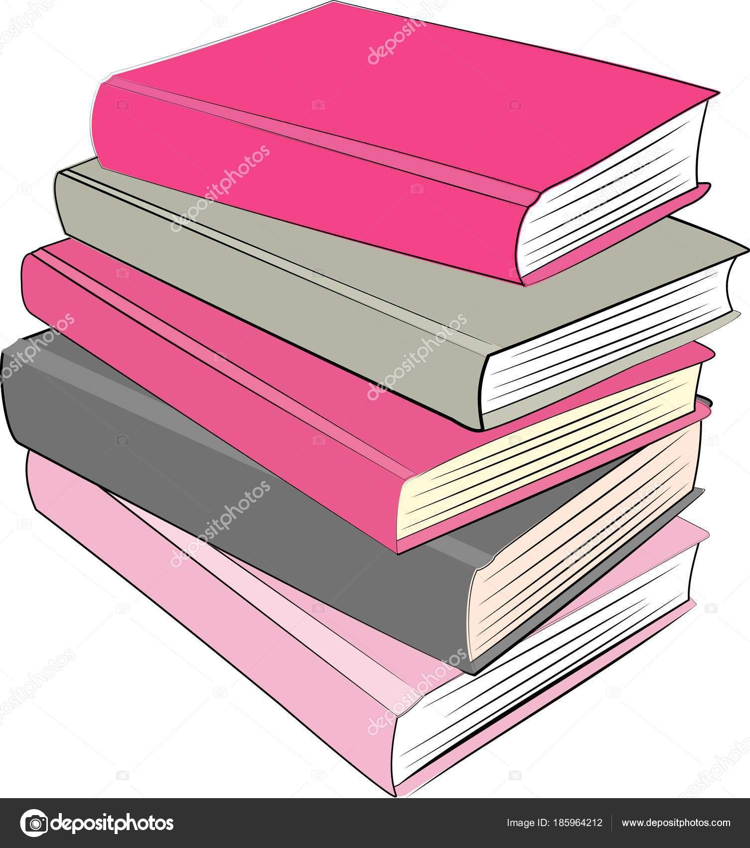 Pile Pink Grey Books — Stock Vector © nirvanna8 #185964212