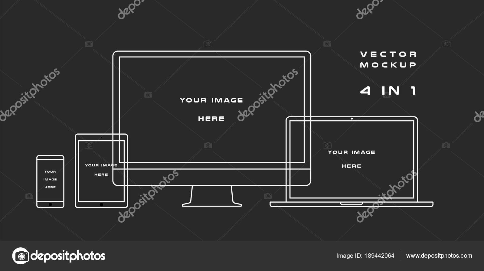 Outline computer monitor, laptop, tablet, smartphone isolated on ...