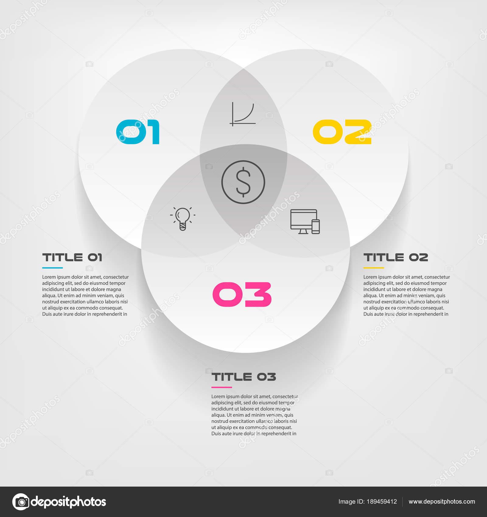 Infogrficos do diagrama de venn para trs vector de desenho do infogrficos do diagrama de venn para trs vector de desenho do crculo e marketing podem ser usados para o layout de fluxo de trabalho relatrio anual ccuart Gallery