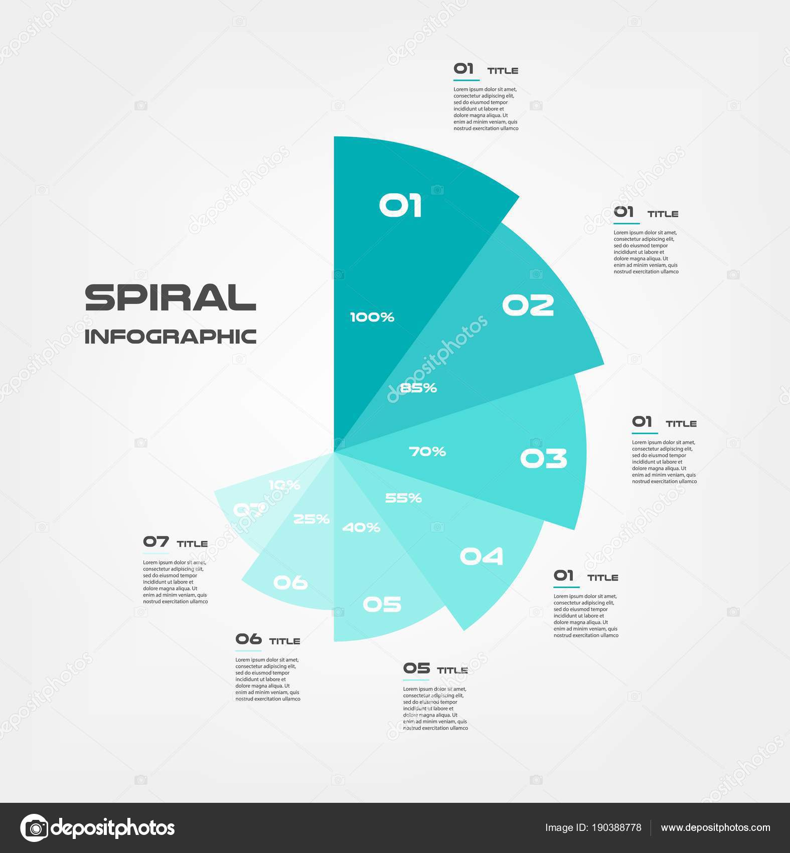 Sunburst Pie Chart Color Infographics Step By Step In A Series Of
