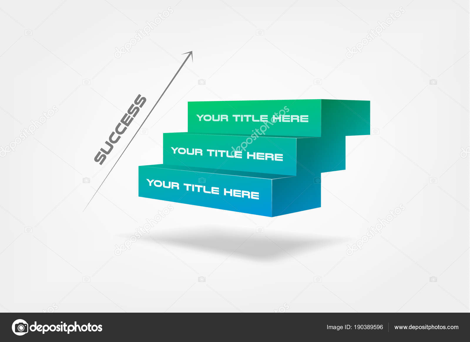 3d blocks, stairs of success, infographics step by step