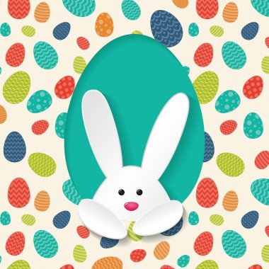 Poster with white bunny and colorful eggs - Easter design. Vector.