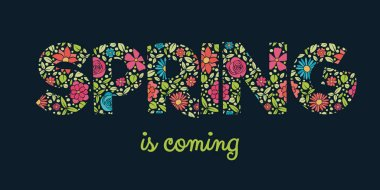 Spring - colourful text with floral texture. Vector.
